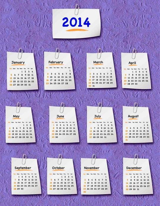 calendario 2014 hojas papel clips