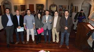 Óscar Pérez (PSOE), Juan Ramón Campo (Foro), Andrés Ron (Podemos), María Basanta (UPyD), Matías Rodríguez (PP), Fernando Losada (IU) y Pedro Herrero (Ciudadanos), en la Casa de Cultura. / I. G.